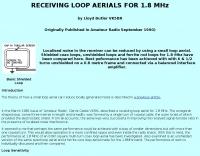 Receiving loop aerial for 1.8 MHz