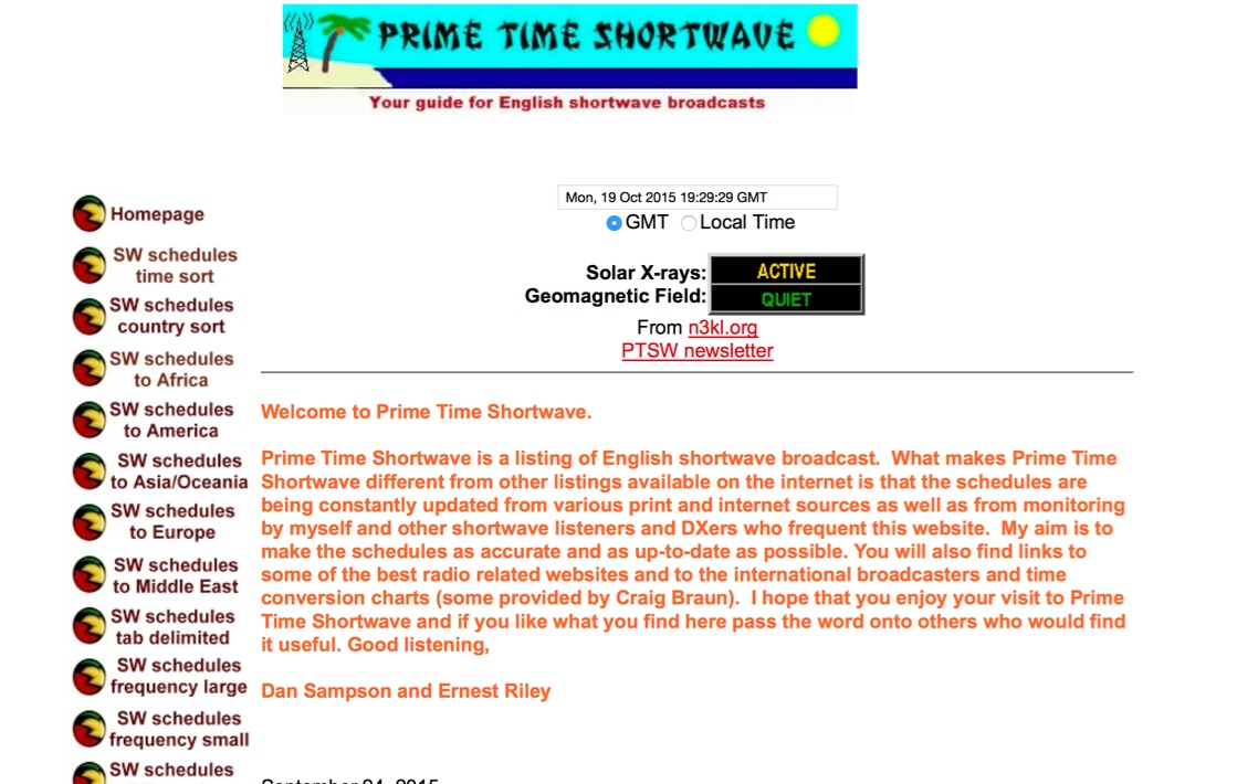 English shortwave broadcast schedules