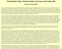 Transmitter Power, Antenna Gain, Coax Loss