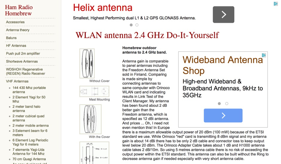 WLAN antenna 2.4 GHz Do-It-Yourself
