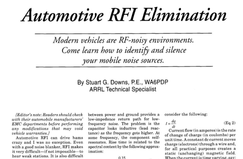 Automotive RFI elimination