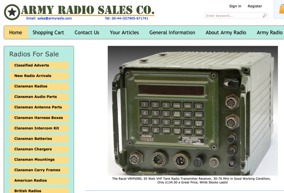Army Radio Sales