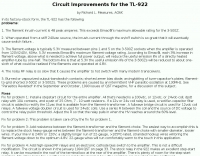 Circuit Improvements for the TL-922