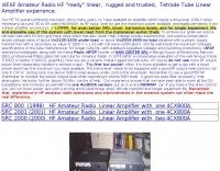 HF Tetrode Linear Amplifiers