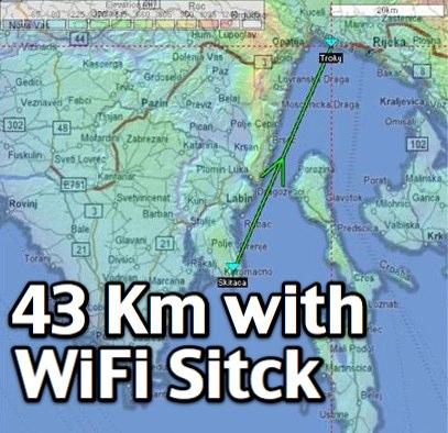 43.33 Km LOS with USB WiFi stick