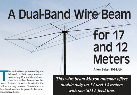 A dual band wire beam for 17 and 12 meters