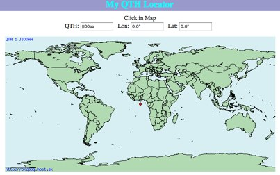 DXZone QTH Locator map