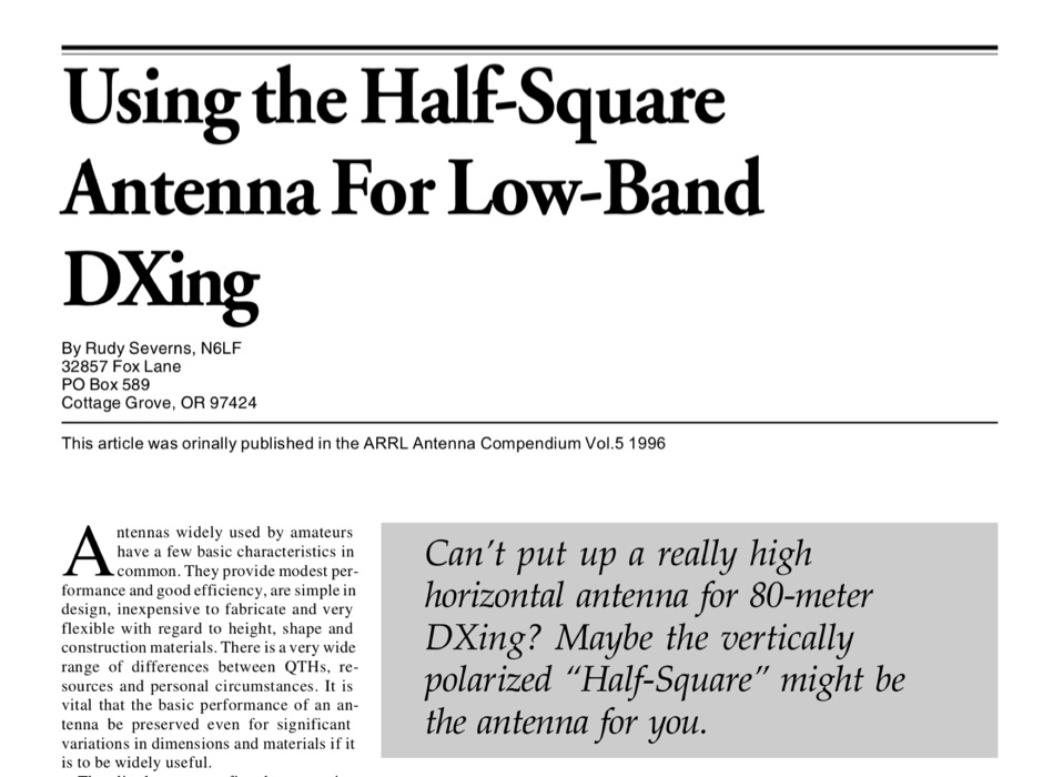 Using the half-square antenna for low bands