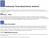 Petlowany Three-Band Burner Antenna