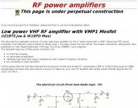 Low power VHF RF amplifier