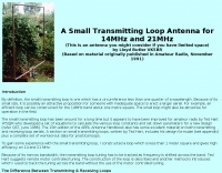 Small loop antenna for 15 and 20 meters