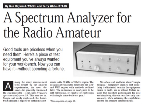 A spectrum analyzer for the radio amateur