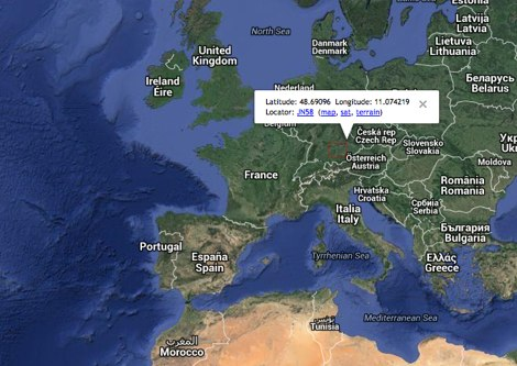 QTH locator or Map square with Google Maps