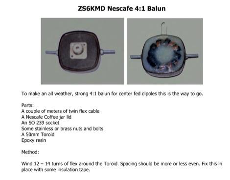 DXZone ZS6KMD Nescafe 4:1 Balun