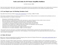 Tools and Links for RF Power Amplifier Builders