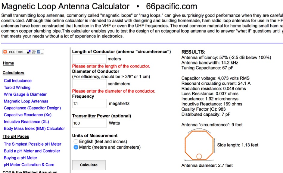 Small Transmitting Loop Antenna Calculator