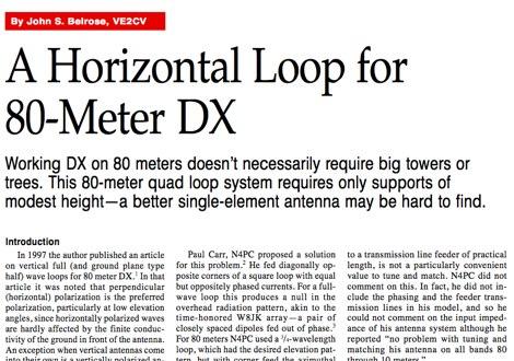 A Horizontal loop for 80 meter dx