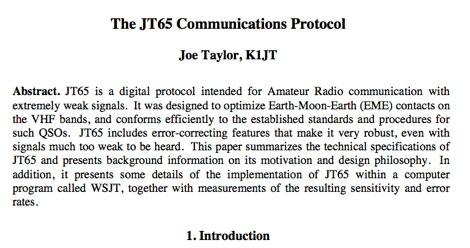 The JT65 Communications Protocol