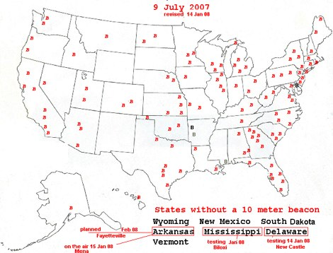 DXZone Map of US 10 m beacons