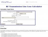 RF Transmission Line Loss Calculator
