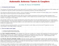 Automatic Antenna Tuners & Couplers