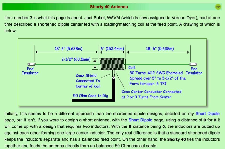 DXZone W5VMs Shorty 40 Antenna