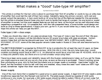 What makes a Good tube-type HF amplifier?