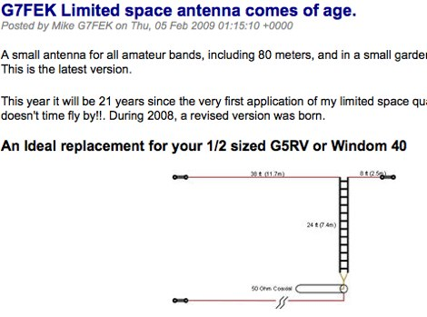 G7FEK Limited space antenna