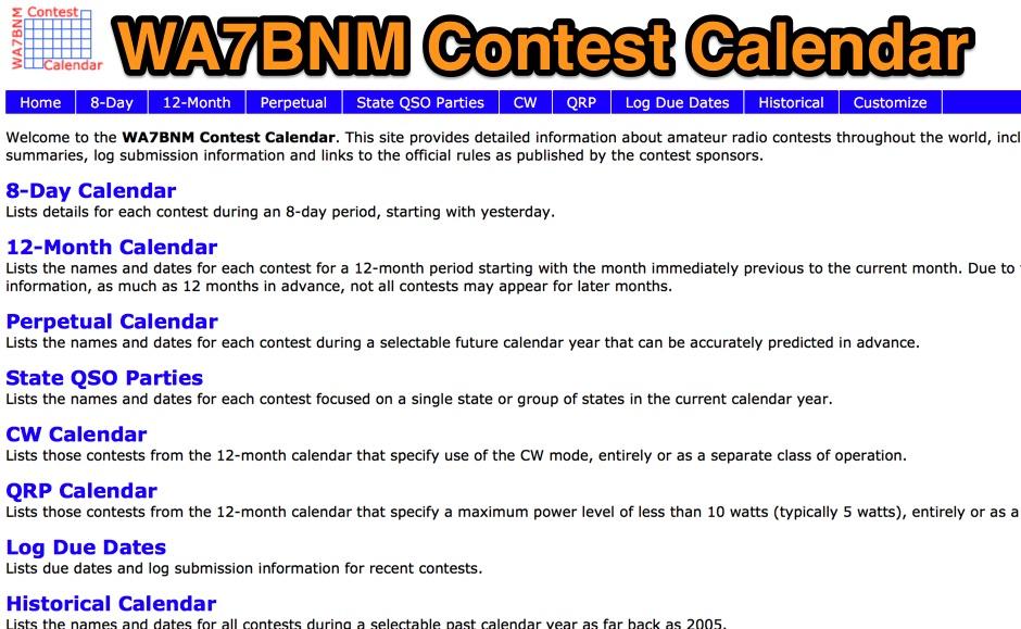 DXZone WA7BNM Contest Calendar