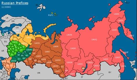 DXZone Russian Prefix map