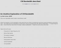 DXZone CW Bandwidth described