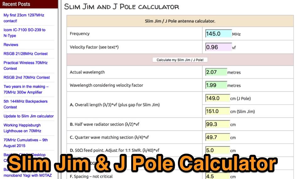 Slim Jim antenna calculator
