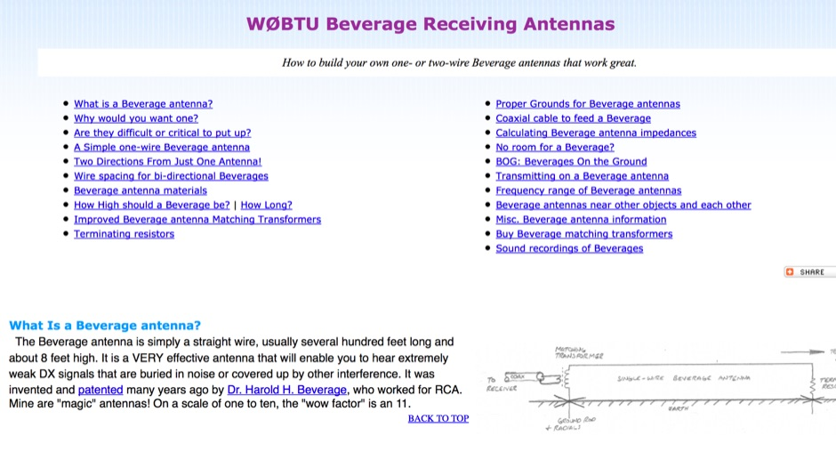 W0BTU Beverage Receiving Antenna notes