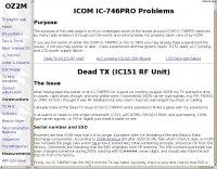 ICOM IC-746PRO Problems