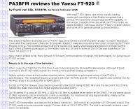 PA3BFM reviews the Yaesu FT-920
