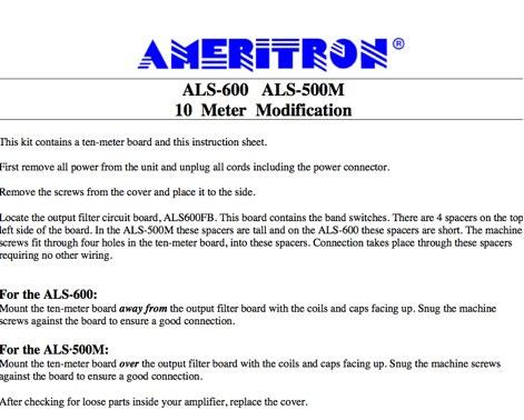 Ameritron ALS-600 ALS-500 10 m mod