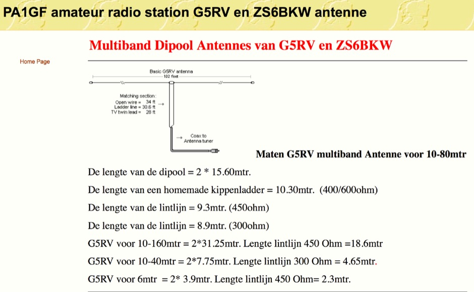 G5RV Antenna and ZS6BKW