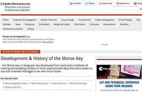 Morse Telegraph - Key and Keyer - History and Development
