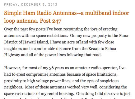 A multiband indoor loop antenna