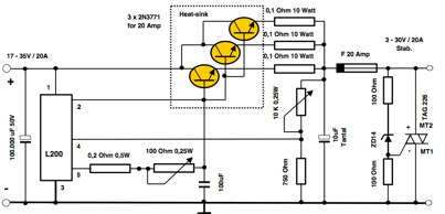 Power supply with an L200 IC