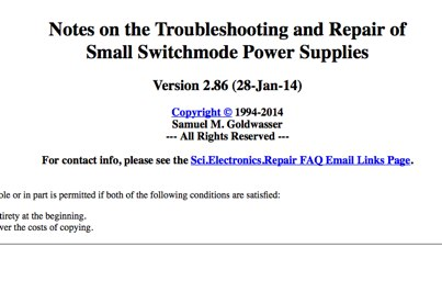 Repairing switchmode power supplies