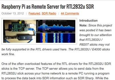 Raspberry Pi as RTL2832 Remote Server - Resource Detail