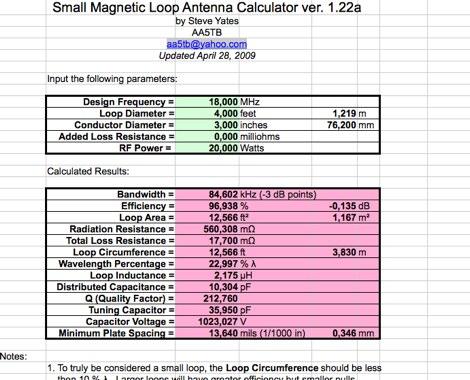 DXZone Magnetic Loop Excel sheet