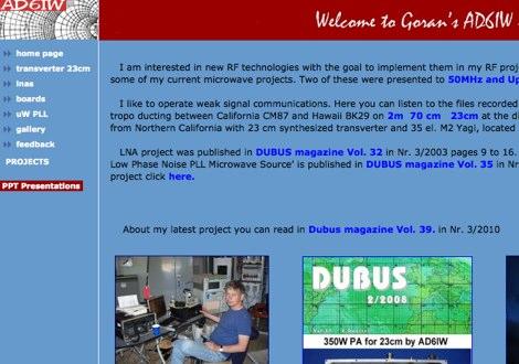 DXZone AD6IW Microwave website