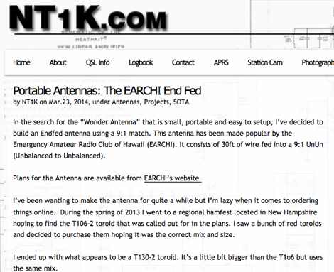Portable Antennas: The EARCHI End Fed