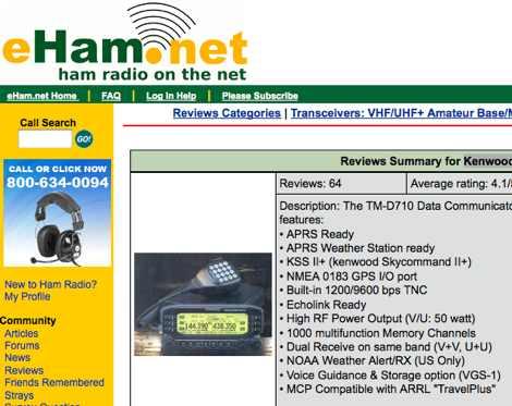 DXZone Kenwood TM-D710A Reviews