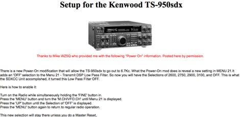 Kenwood TS-950sdx Setup