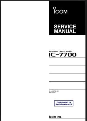 ICOM IC 7700 User manual