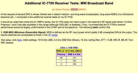 IC-7700 Receiver Tests