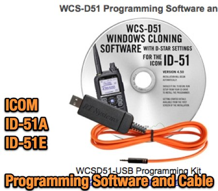 Icom ID-51A Programming Cable and Software